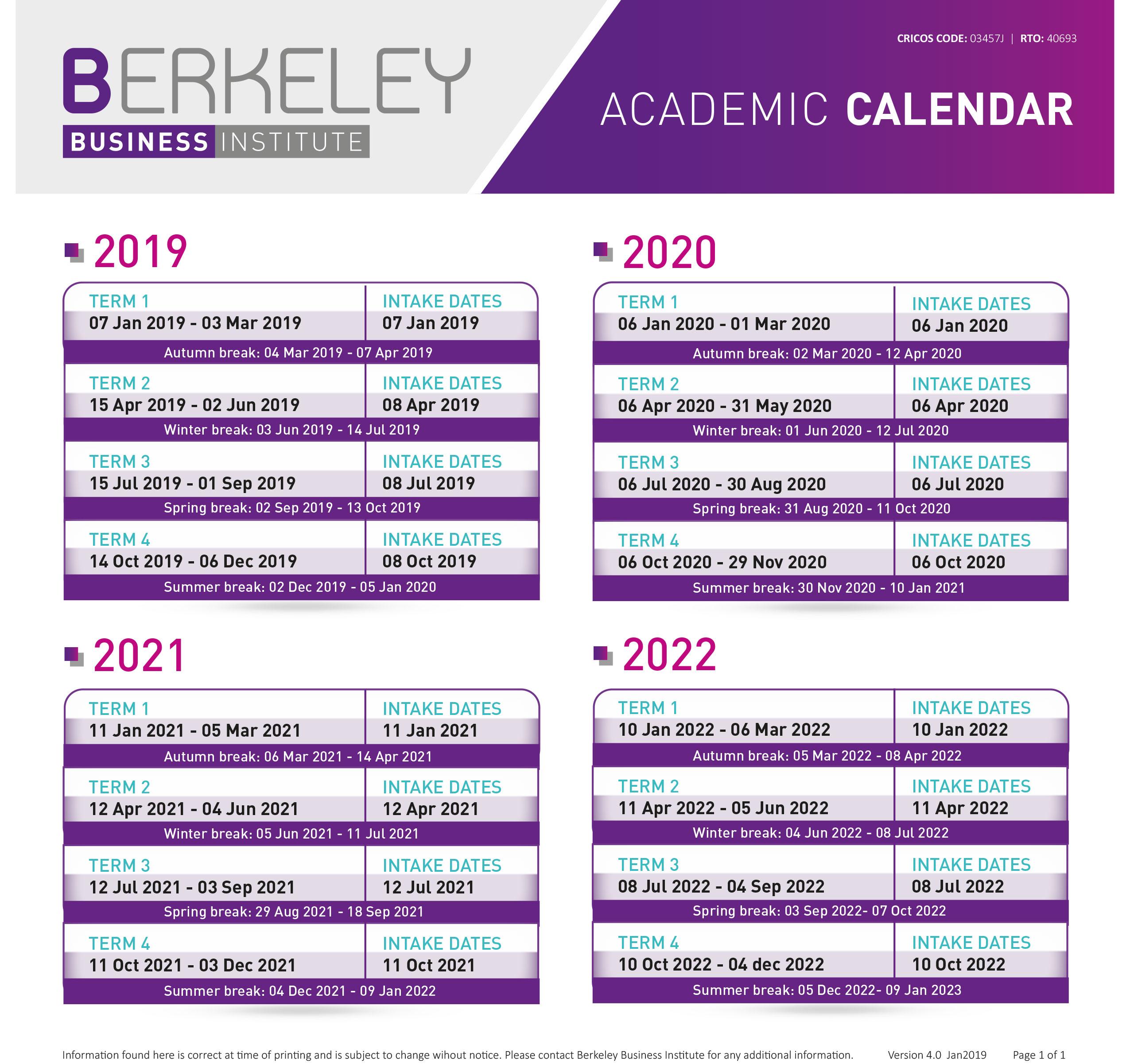 Berkeley Academic Calendar.Important Dates Berkeley Business Institute